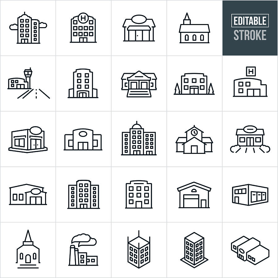 Buildings Thin Line Icons - Editable Stroke Drawing by Appleuzr