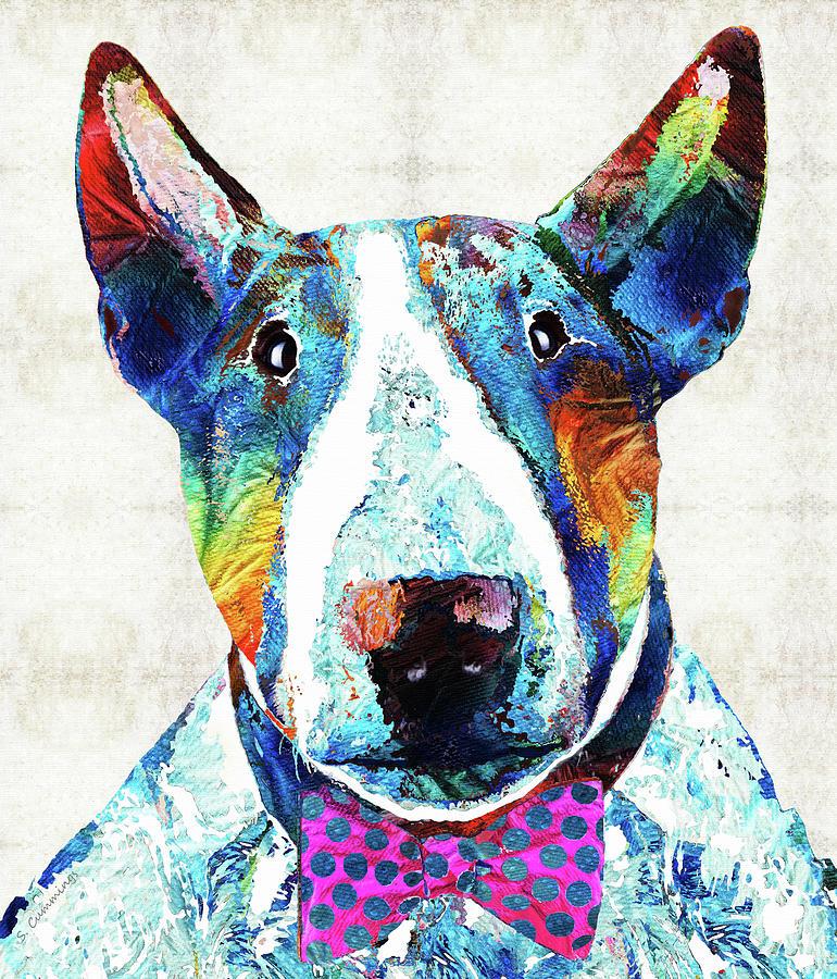 Bull Terrier Painting - Bull Terrier Art - Party Animal - Sharon Cummings by Sharon Cummings