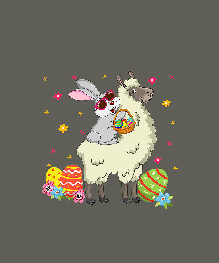 Bunny Easter Riding Llama Funny Hunting Eggs Easter Day Gift