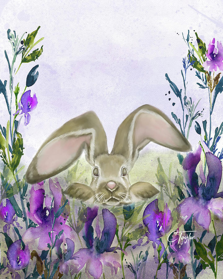 Bunny In Iris Fields Mixed Media