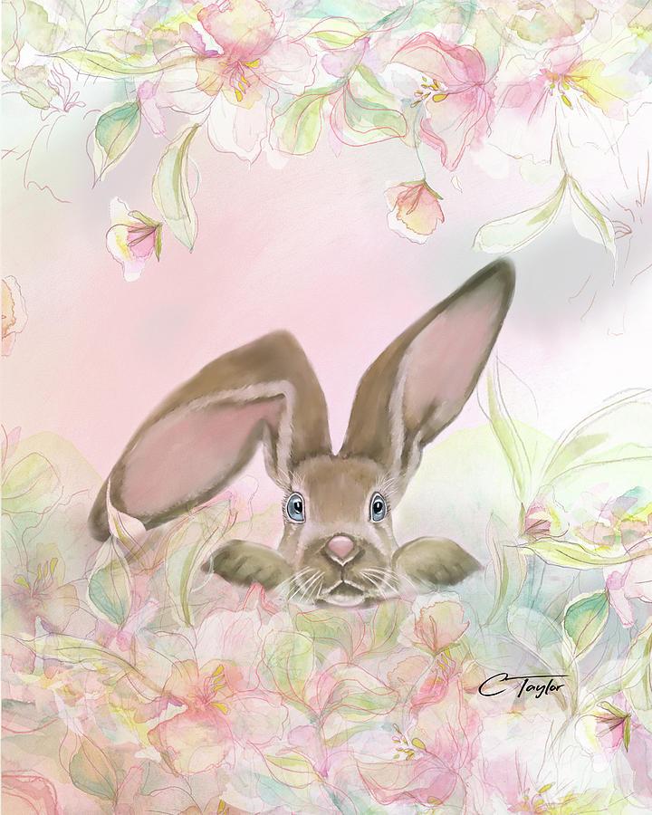 Bunny In The Flower Garden Mixed Media