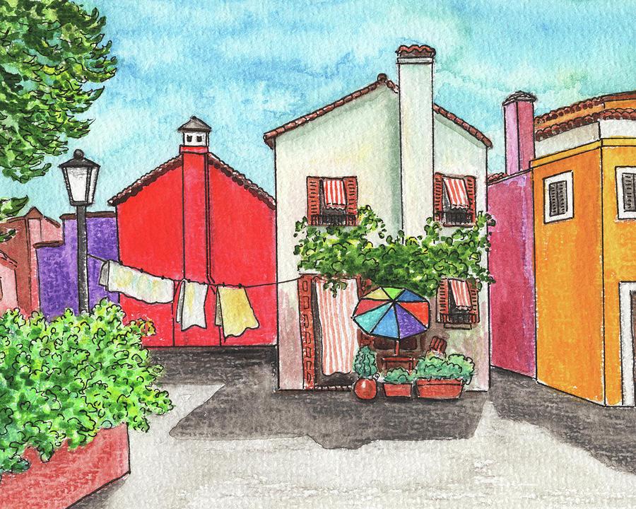 Burano Island Italian Town Watercolor Painting