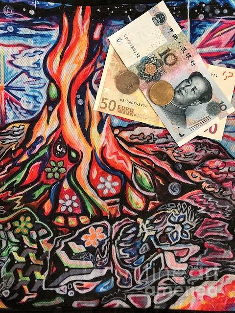 Money Mixed Media - Burning Money by Susan Brown    Slizys art signature name