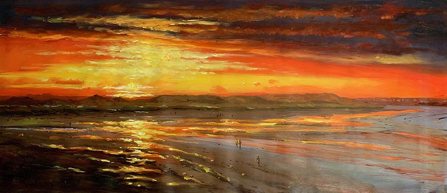 Burning Sunset On Enniscrone Beach Painting