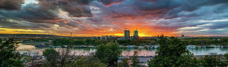 Kalemegdan Photograph - Burning sunset over Belgrade by Dejan Kostic