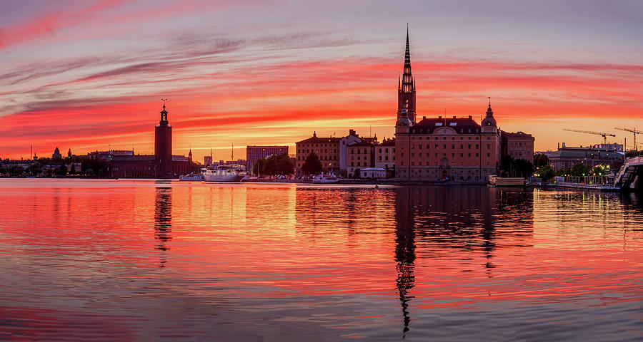 Fiery Photograph - Burning sunset over Stockholm by Dejan Kostic