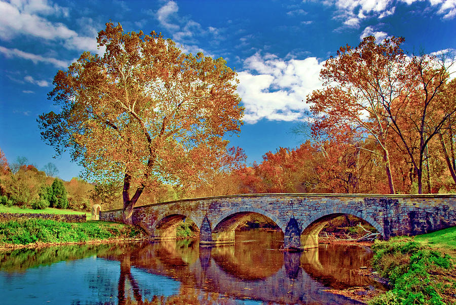 Burnside Bridge At Antietam In Fall Colors Photograph