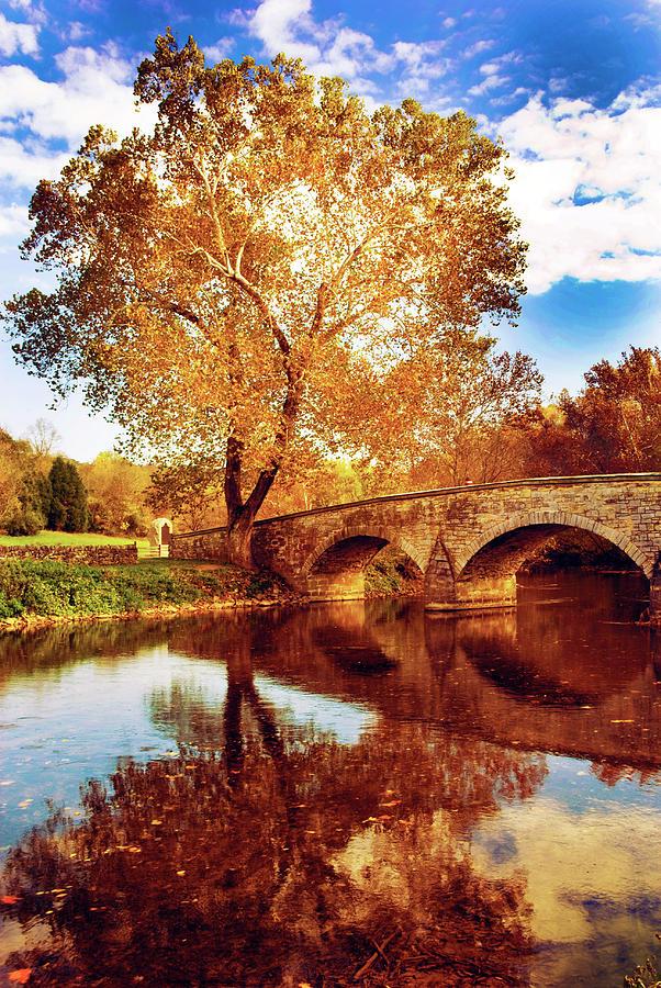 Burnside Bridge At Autumn Sunset Photograph