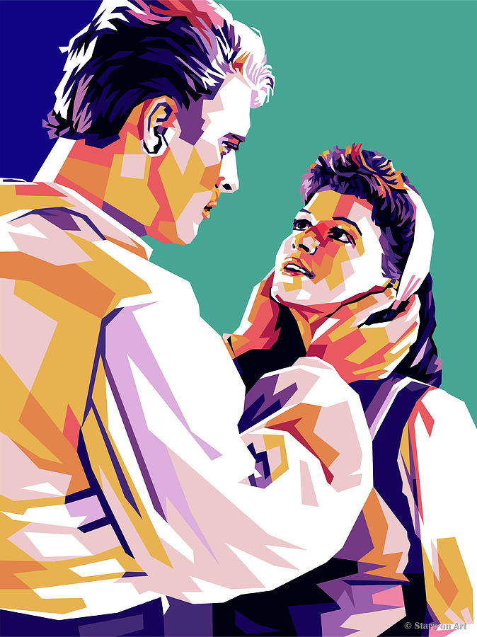 Burt Lancaster And Eva Bartok Mixed Media