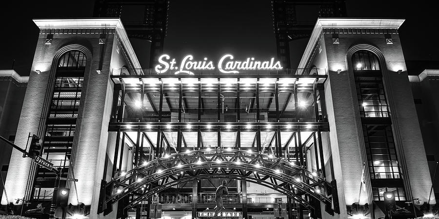 Busch Stadium And St Louis Cardinals Baseball Panorama In Black And White Photograph