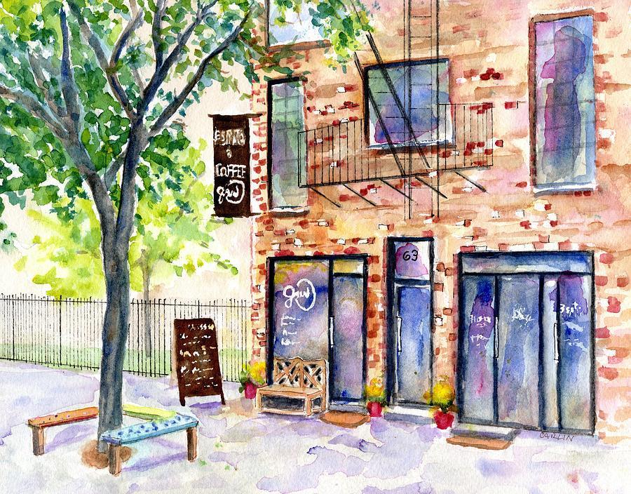 Bushwick Brooklyn New York Coffee Shop by Carlin Blahnik CarlinArtWatercolor