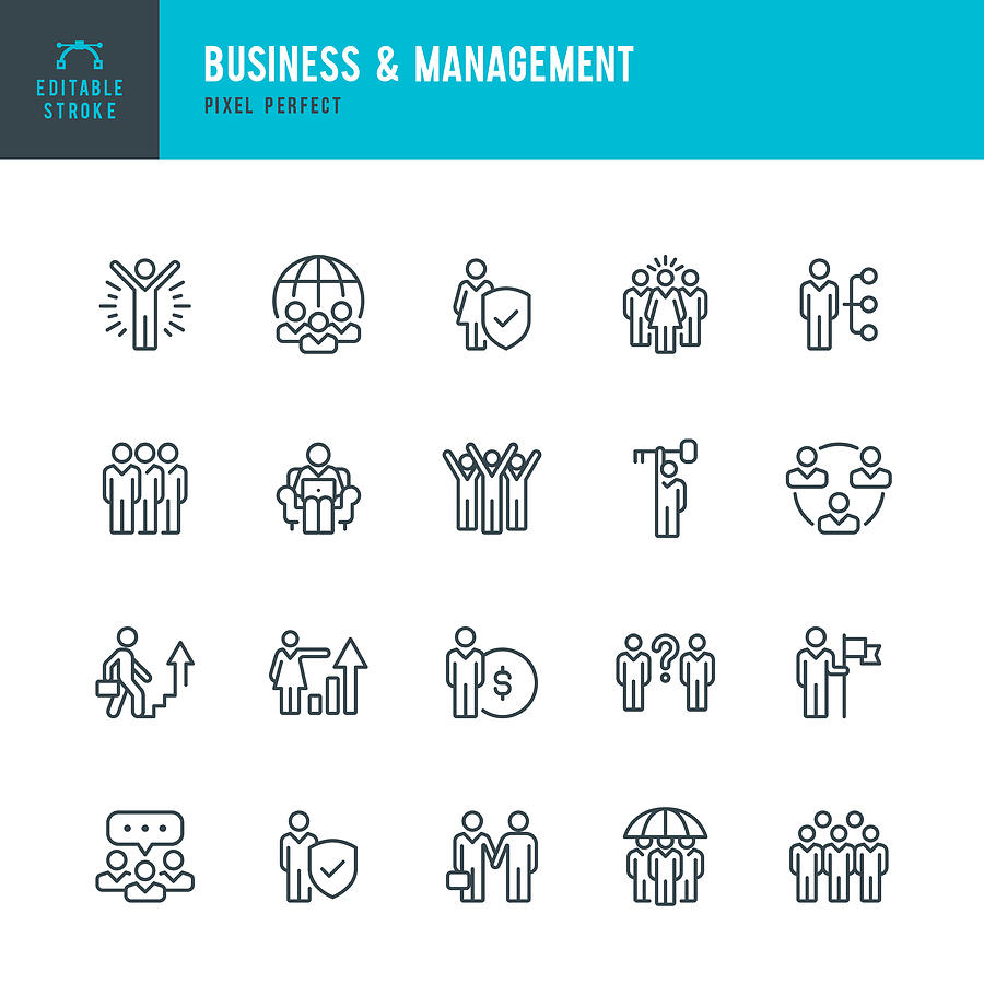 Business & Management - thin line vector icon set. Pixel perfect. Editable stroke. The set contains icons: People, Teamwork, Partnership, Presentation, Leadership, Growth, Manager. Drawing by Fonikum