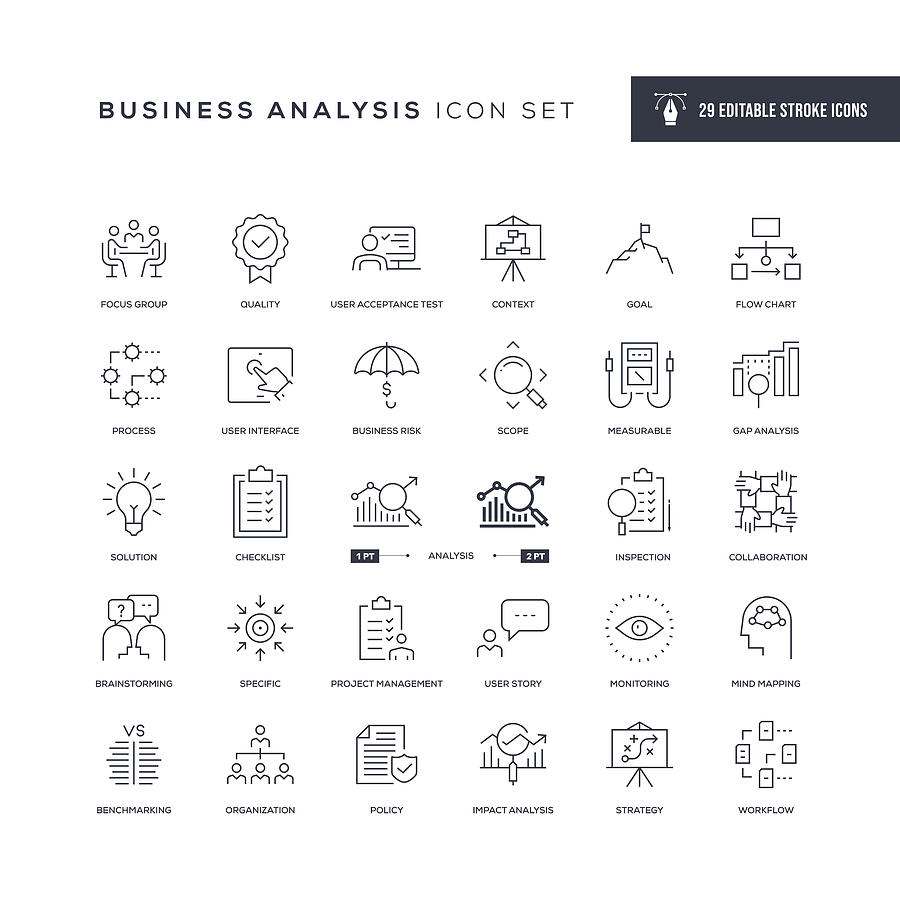 Business Analysis Editable Stroke Line Icons Drawing by Enis Aksoy