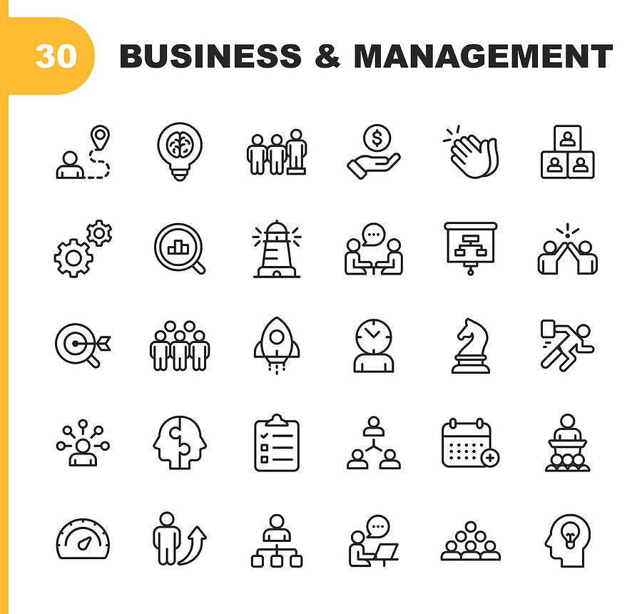 Business and Management Line Icons. Editable Stroke. Pixel Perfect. For Mobile and Web. Contains such icons as Business Management, Business Strategy, Brainstorming, Optimization, Performance. Drawing by Rambo182