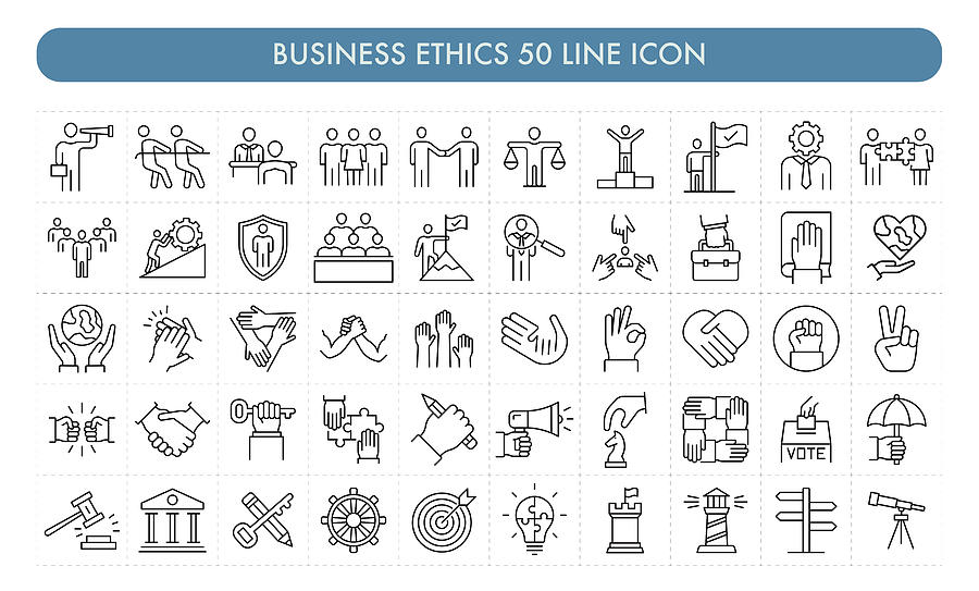 Business Ethics 50 Line Icon Drawing by Studiostockart