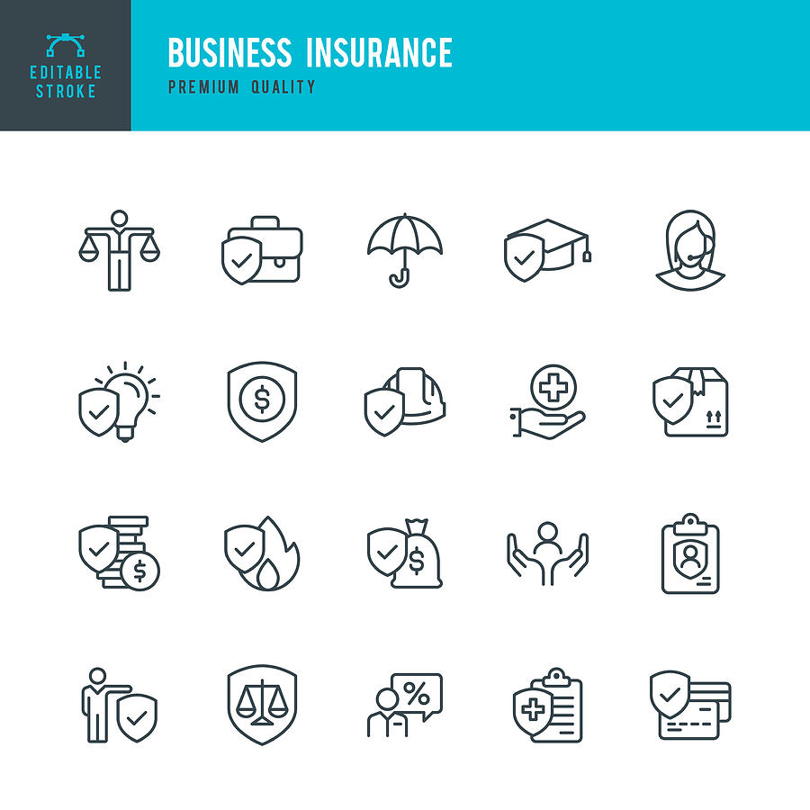 Business Insurance - vector line icon set Drawing by Fonikum