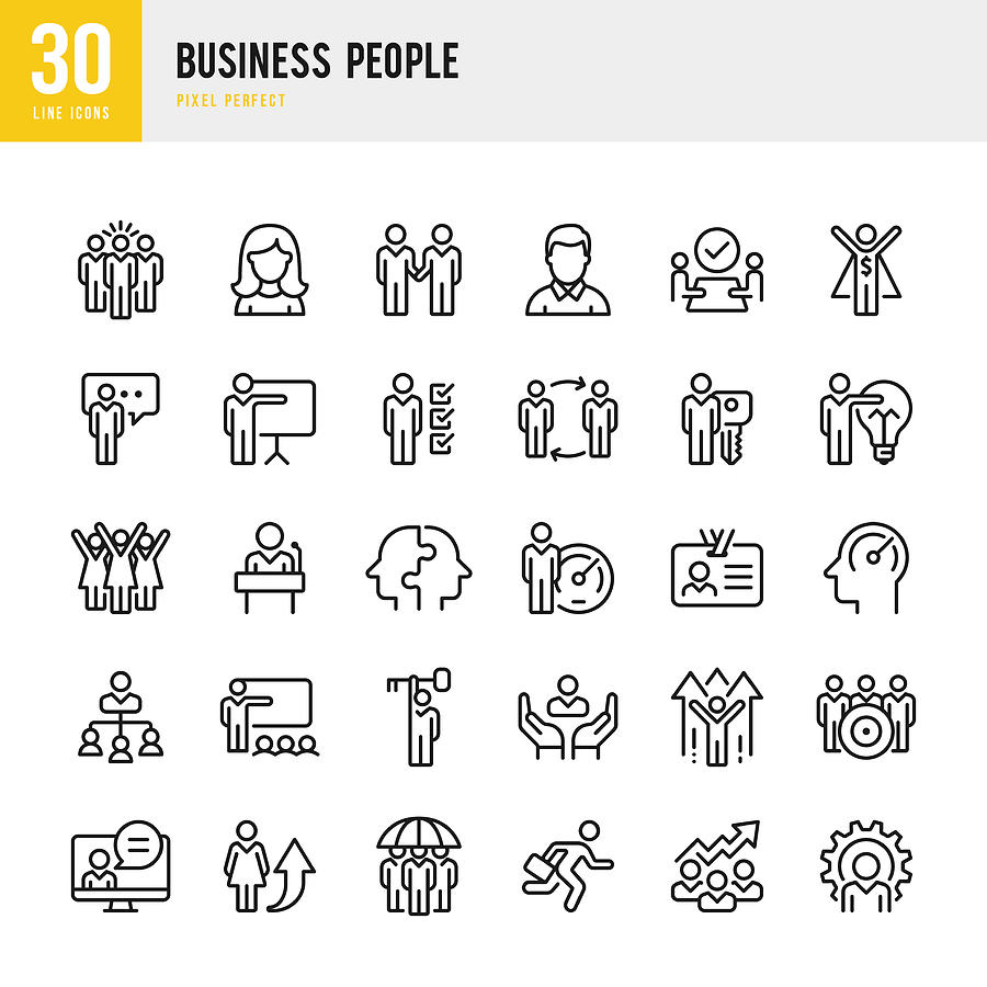 Business People - linear vector icon set. Pixel perfect. The set contains icons such as People, Teamwork, Presentation, Leadership, Growth, Manager, Success, Partnership and so on. Drawing by Fonikum