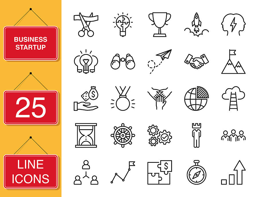 Business Startup Set Of Thin Line Vector Icons Drawing by Tuncay GÜNDOĞDU