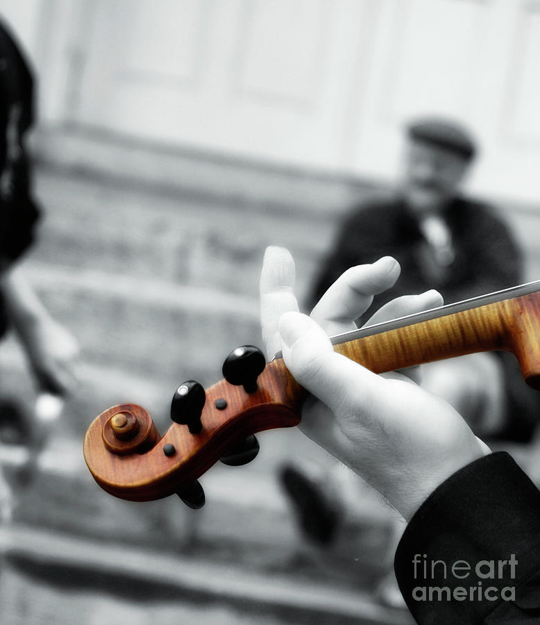 Violin Photograph - The Art Of Busking  by Steven Digman