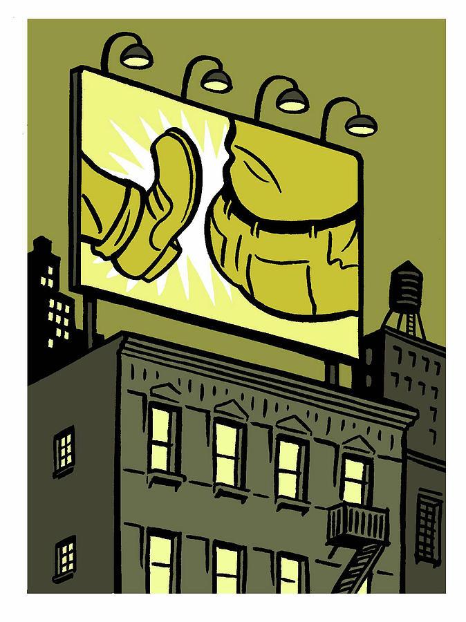 Butt Kick Billboard Drawing by Christoph Niemann