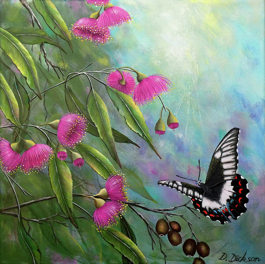 Butterflies Painting - Butterfly and gum blossoms by Debra Dickson