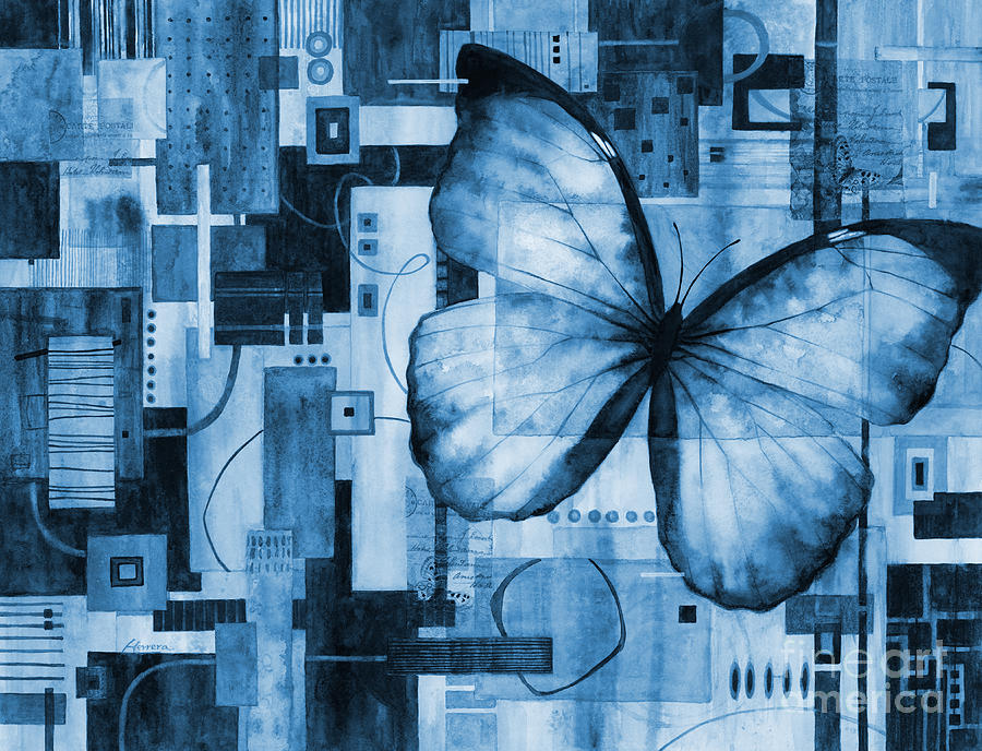 Butterfly Effect In Blue Painting