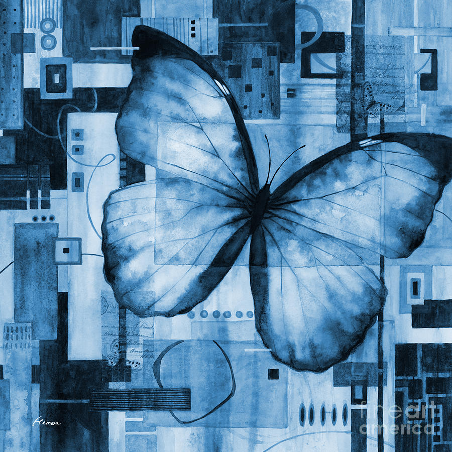 Butterfly Effect-square Format In Blue Painting