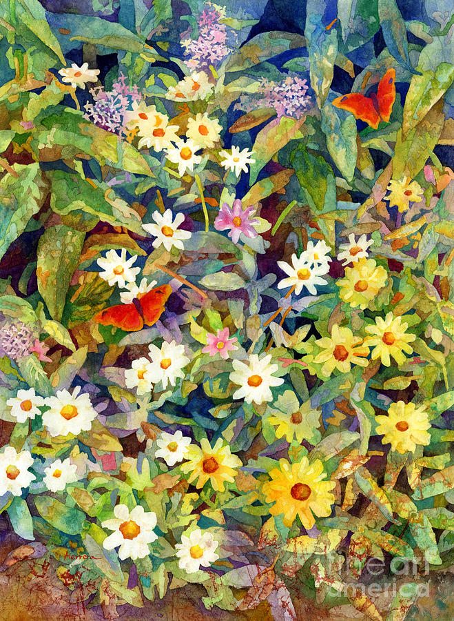 Flowers Painting - Butterfly Garden by Hailey E Herrera