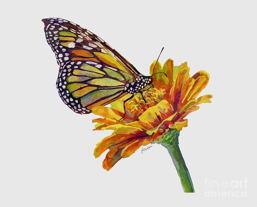 Butterfly Kiss On White Painting