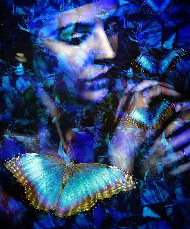 Butterfly Digital Art - Butterfly woman by Gunilla Munro Gyllenspetz