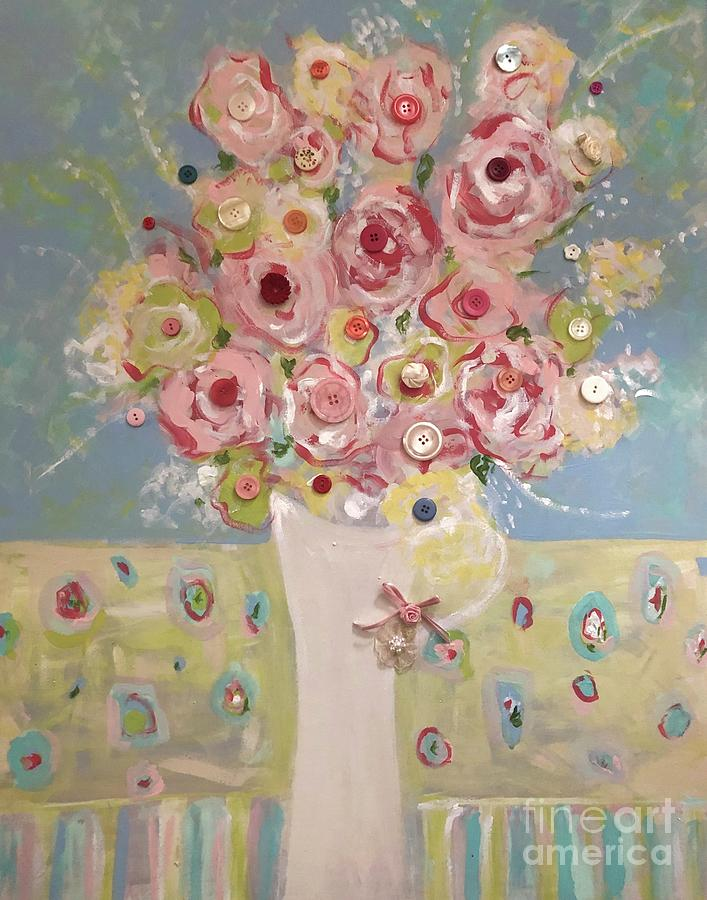 Flowers Painting - Buttons and Bows by Jacqui Hawk