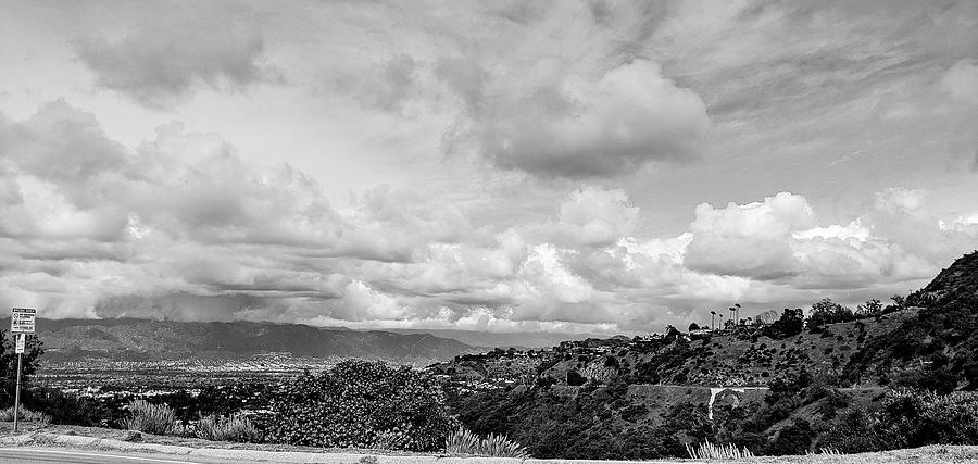 The Valley Photograph - BW View from Mulholland Drive Facing North by Jera Sky