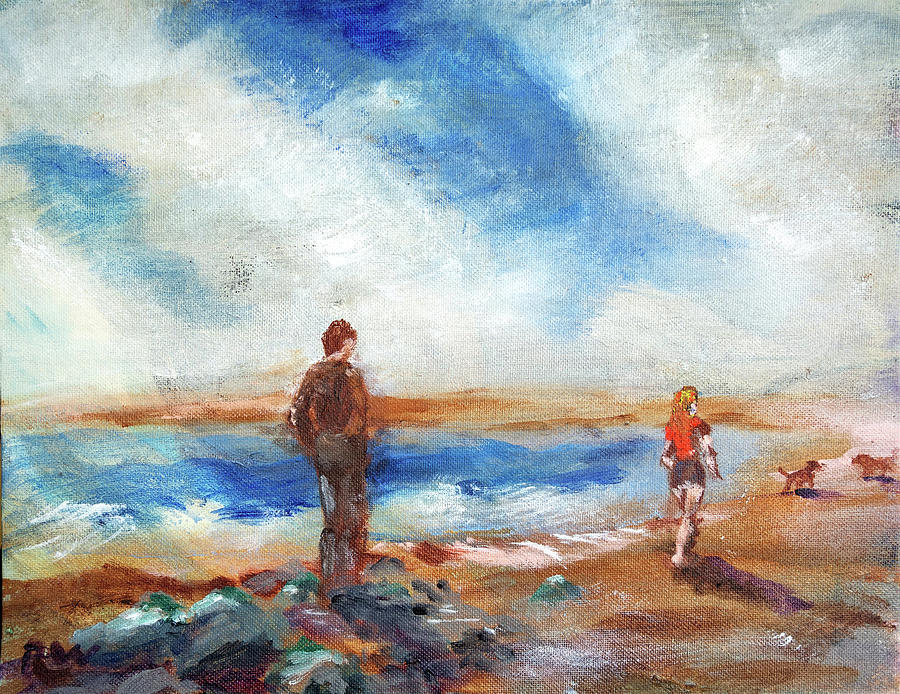 Seascape Painting - By The Sea by Rich Wagner