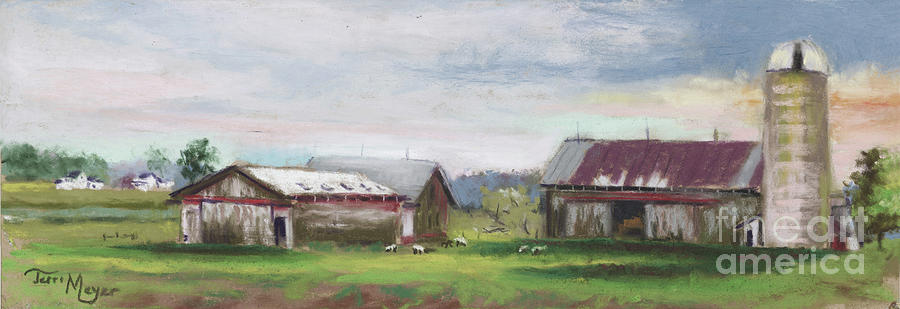 Byers Wood Barn Kissed In Pink Painting