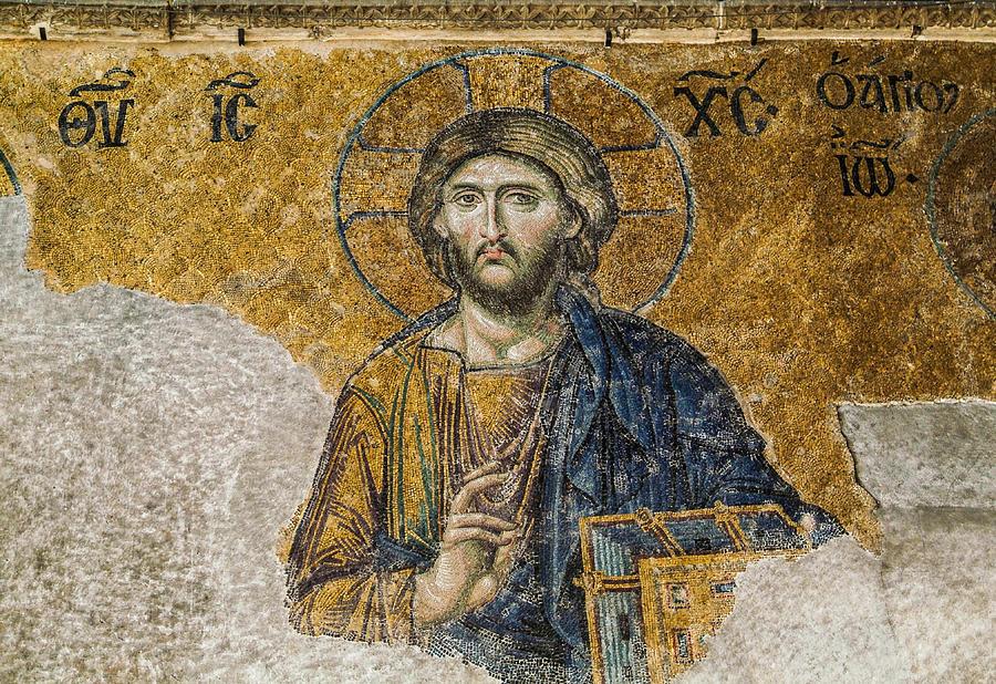 Byzantine mosaic of Jesus Christ in Hagia Sophia Photograph by Nikolaradic