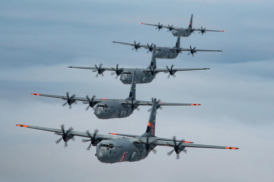 C-130J Super Hercules formation. Photograph by Paul Fearn