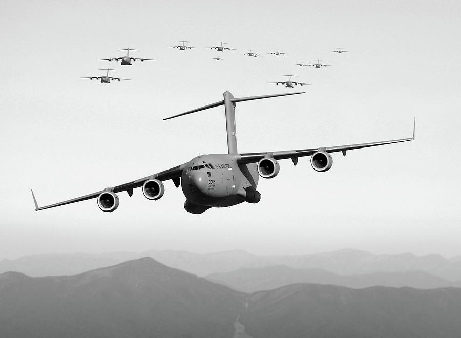 C-17 Planes Conducting Aerial Maneuvers - 2005 by War Is Hell Store