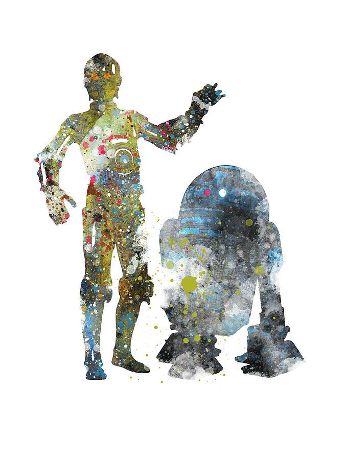 C-3po And R2d2 Watercolor Star Wars Digital Art