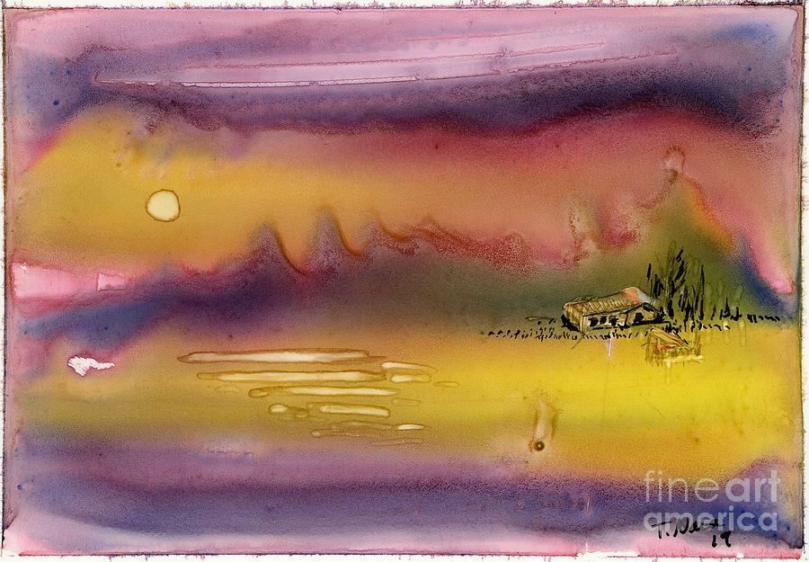 Dreamlike Painting - Cabin Dream Landscape by Tammy Nara
