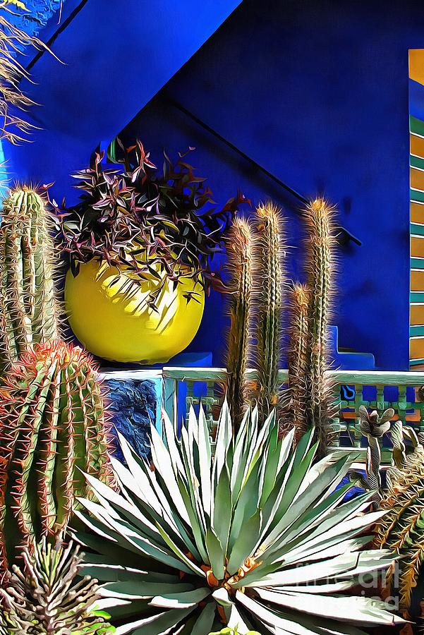 Cactus Against Blue Background by Dorothy Berry-Lound