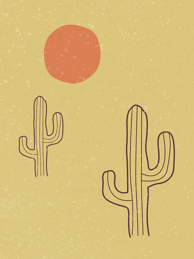 Cactus - Desert Landscape - Modern, Minimal, Contemporary Abstract - Terracotta, Brown, Earth Mixed Media