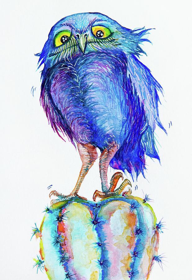 Owl Painting - Cactus elf owl by Varvara Medvedeva
