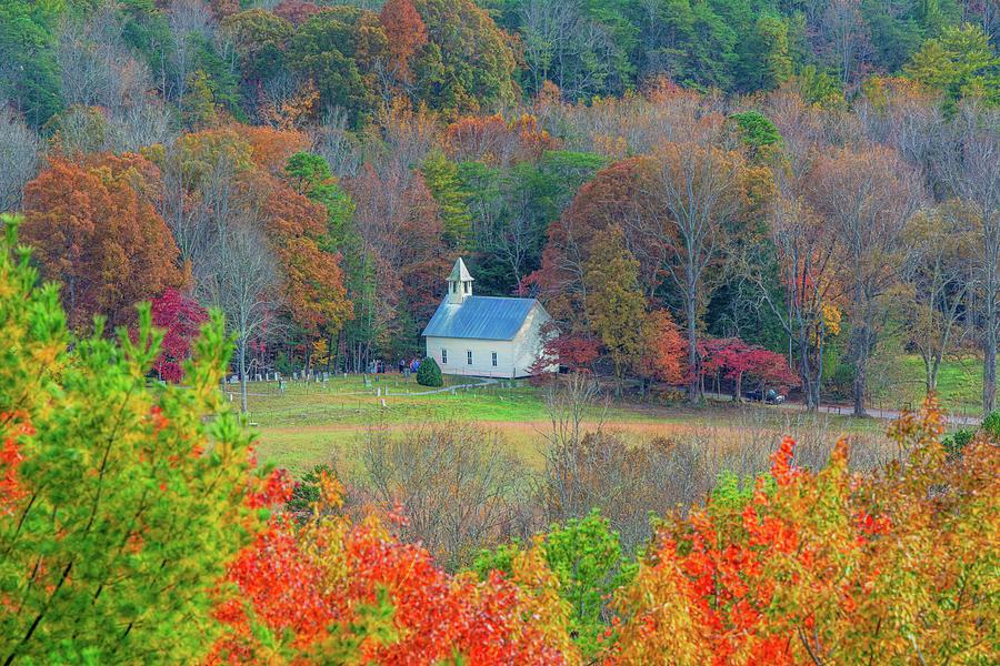 Cades Cove Methodist Church Autumn by Douglas Wielfaert