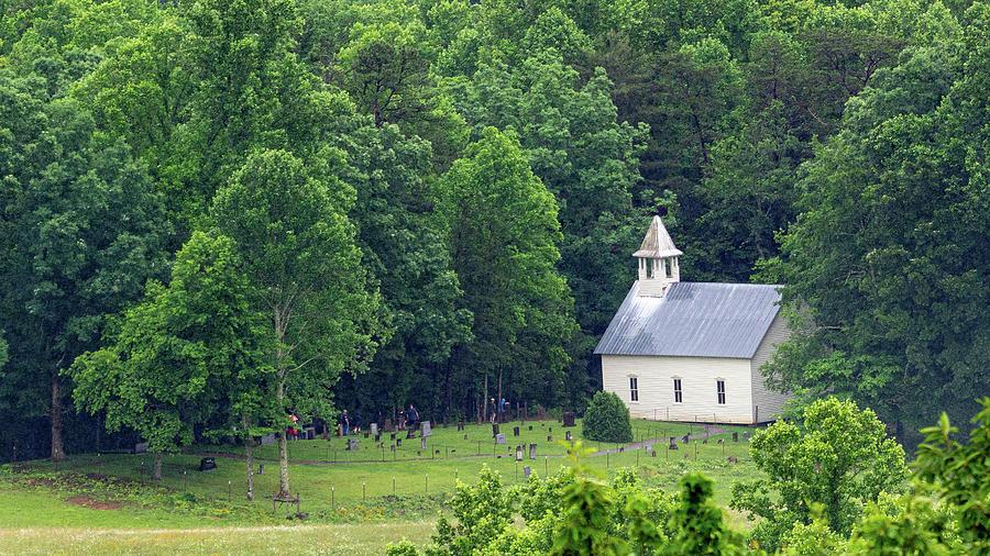 Cades Cove Methodist Church From Rich Mountain Road by Douglas Wielfaert