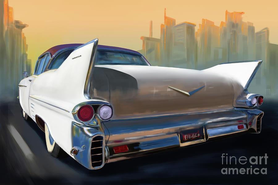 Cadillac Classic Car City Cruising Digital Art