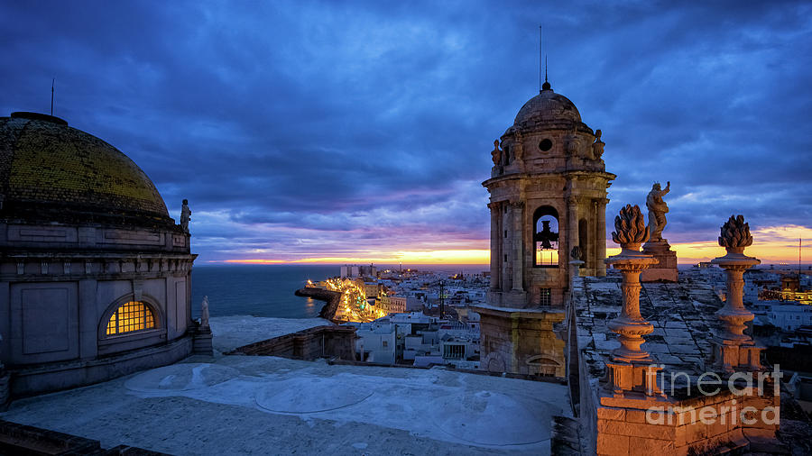 Cadiz Cathedral City View Spectacular Sky at Dusk from East Tower Andalusia by Pablo Avanzini