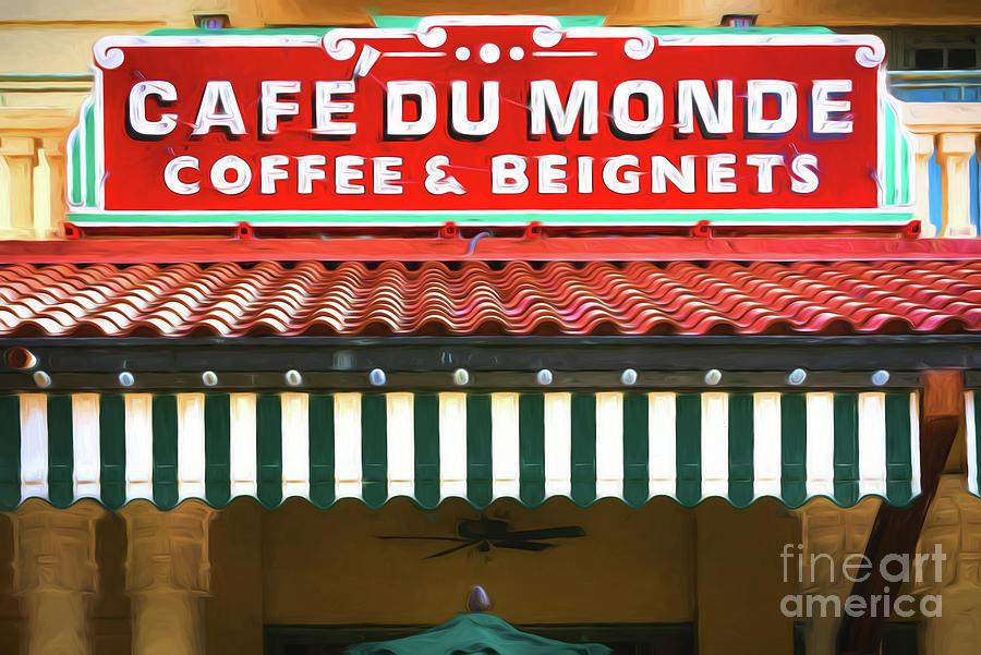Cafe Du Monde - Digital Painting by Kathleen K Parker