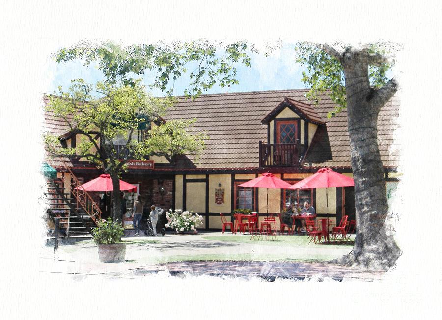 Cafe Scene Photograph - Cafe Scene in Solvang California Digital Watercolor by Colleen Cornelius