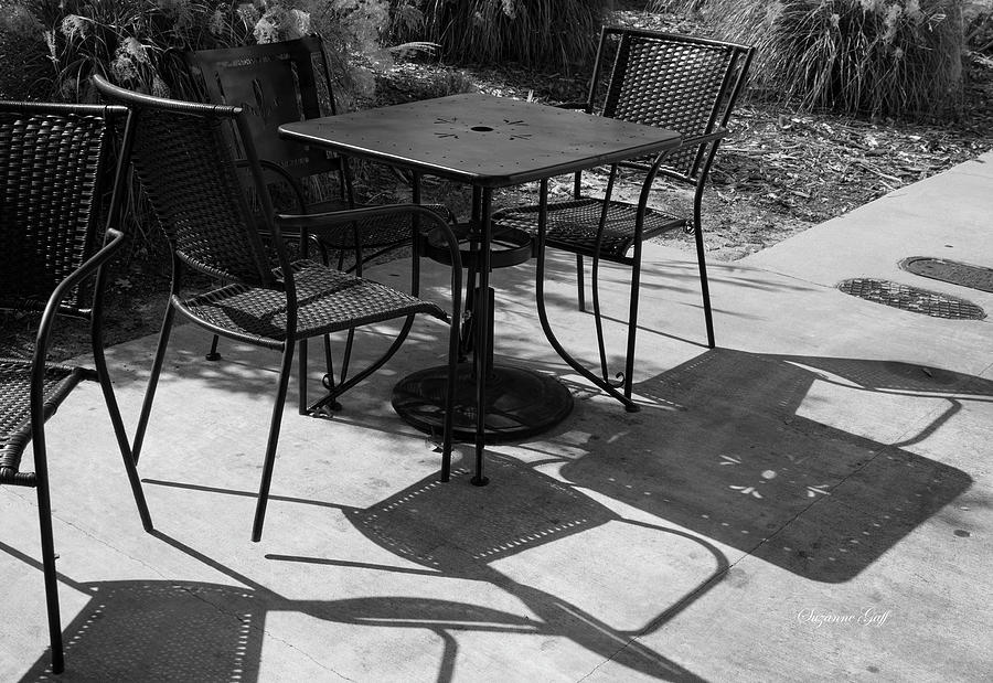 Cafe Shadows - Black And White Photograph