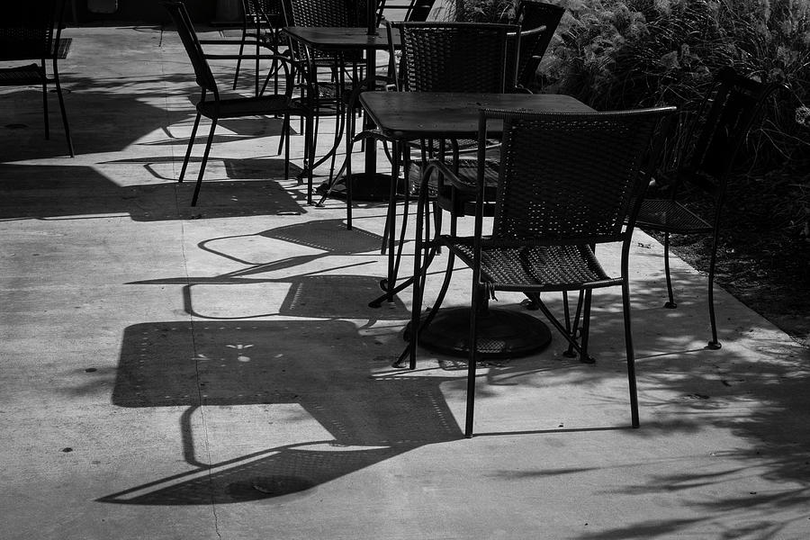 Cafe Shadows II - Black And White Photograph